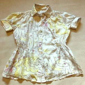 Lapis silk blouse - cat, angel - M